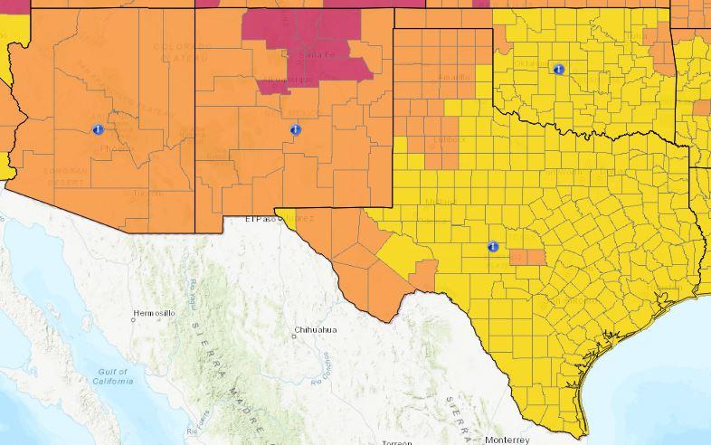 Arizona, New Mexico, Oklahoma e Texas