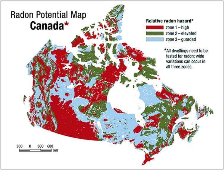 Mappe del radon nel nord america - Canada