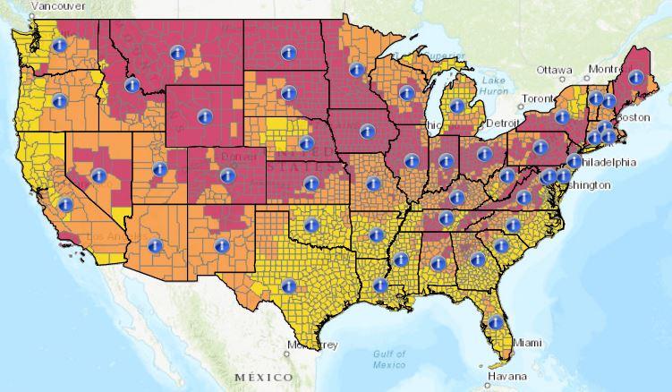 Mappa di EPA degli Stati Uniti d'America con le caratterizzazione dell'inquinamento da radon nei vari stati indicato per le singole Contee.