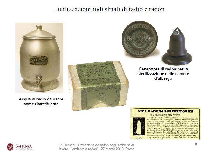 """Esempi di passate pubblicità di utilizzazioni """"salutari"""" del radon. Tutt'oggi si trovano annunci che decantano le salvifiche proprietà di questo gas killer."""