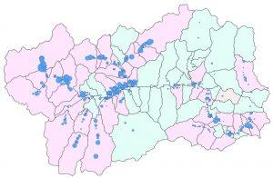 Mappe radon Valle d'Aosta - Nella mappa riportata sono indicati con cerchi azzurri tutti i punti di misura presi nelle abitazioni. La superficie di ogni cerchio è proporzionale alla concentrazione media annuale rilevata.