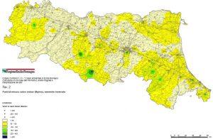 Mappe radon di Emilia Romagna - Mappa dei punti di misura radon e dei risultati - semestre invernale