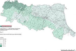 Mappe radon di Emilia Romagna - Mappa dei valori di radon nelle acque sotterranee
