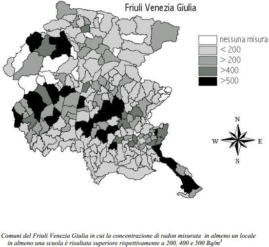 Mappe radon di Friuli Venezia Giulia - Campagna locale in tutte le strutture scolastiche - Mappa dei risultati per Comune