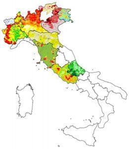 Dal sito di ISPRA si ricava questa figura dell'Italia che raffigura sinteticamente i risultati ottenuti da alcune Regioni per l'individuazione delle aree ad elevata probabilità di concentrazione di radon