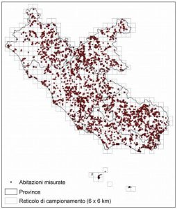 Mappe radon del Lazio - Mappa regionale con la distribuzione spaziale delle circa 5300 abitazioni misurate durante la campagna del 2003-11.