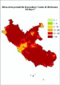 Mappe radon del Lazio - Mappa regionale con la probabilità di superare i livelli di riferimento di 100 [Bq/m3].