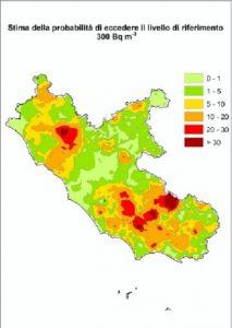 Mappe radon del Lazio - Mappa regionale con la probabilità di superare i livelli di riferimento di 300 [Bq/m3].