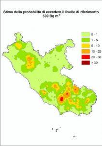 Mappe radon del Lazio - Mappa regionale con la probabilità di superare i livelli di riferimento di 500 [Bq/m3].