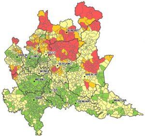 Mappe radon della Lombardia. La mappa regionale rappresenta con i colori i singoli Comuni, con differente probabilità di superamento del livello di concentrazione media del radon a piano terra di 200 [Bq/m3]