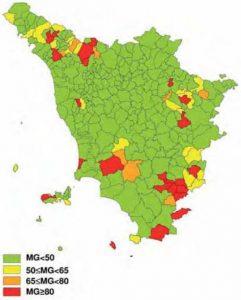 Mappe radon della Toscana - Mappa regionale con la caratterizzazione a livello comunale di quattro aree di differente inquinamento.