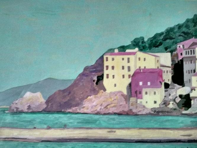 I NORM sono presenti nel suolo, nelle acque e nei materiali edili - Questo acquerello li rappresenta tutti e tre tramite un immagine di case incastonate nella roccia in riva al mare.