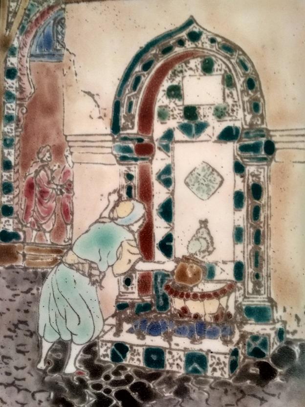 Immagine di un personaggio arabo che preleva acqua dalla fonte. Siamo in un contesto cittadino evoluto.