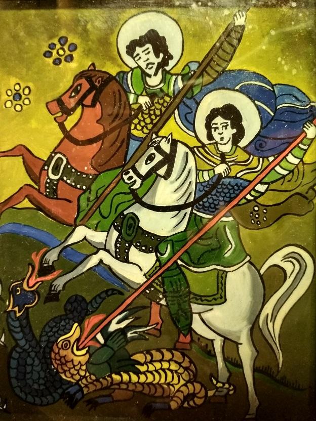 Cavalieri a cavallo uccidono i draghi provenienti dal sottosuolo