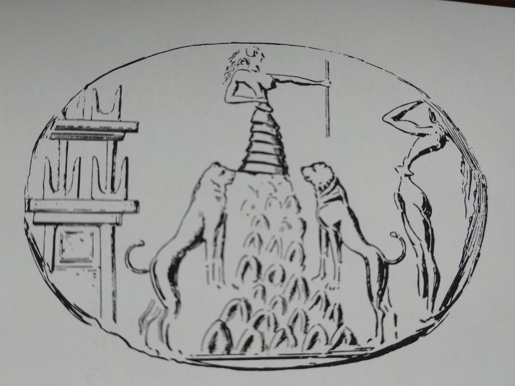 La grande dea Rea fiancheggiata da leoni sulla cima di un monte in un sigillo di Cnosso. Davanti a un santuario di fronte a un fedele abbagliato controlla e mitiga la natura.