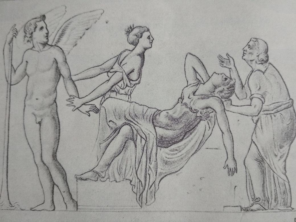 Immagine da una coppa d'argento pompeiana: Semele morente.